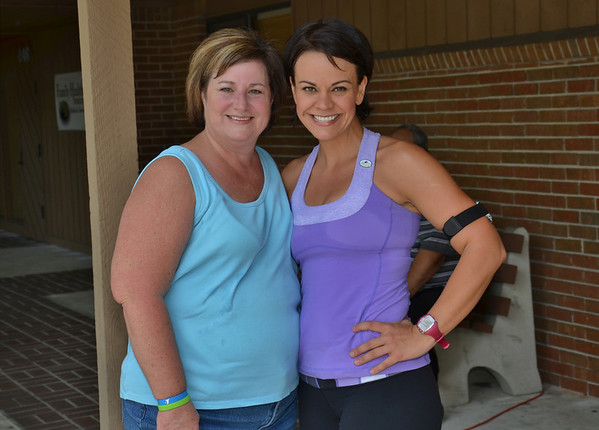 Ali Vincent , the first female winner on The Biggest Loser was in town for a health fair , got pic of her and my wife after a workout.