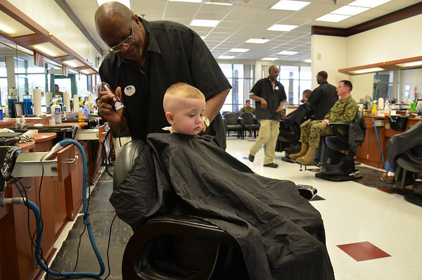 """My grandson getting a real """"high and tight"""" haircut on base at Camp Lejuene a couple of weeks ago."""